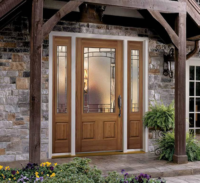 Anderson fiberglass entry doors with glass on farmhouse exterior lighting